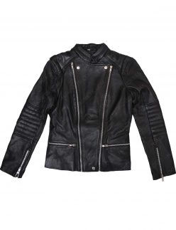 kendall jenner quilted black leather jacket