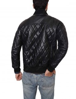 mens-slim-fit-quilted-black-biker-jacket
