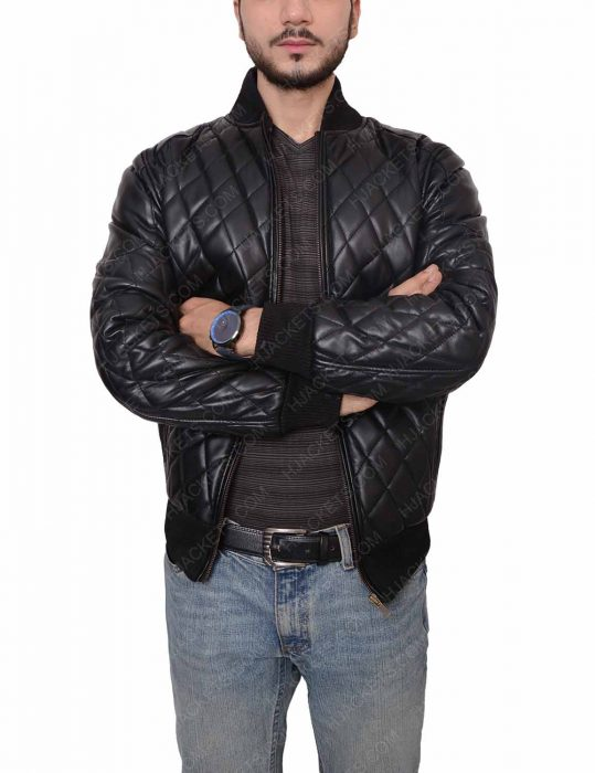 men's slim fit quilted leather jacket