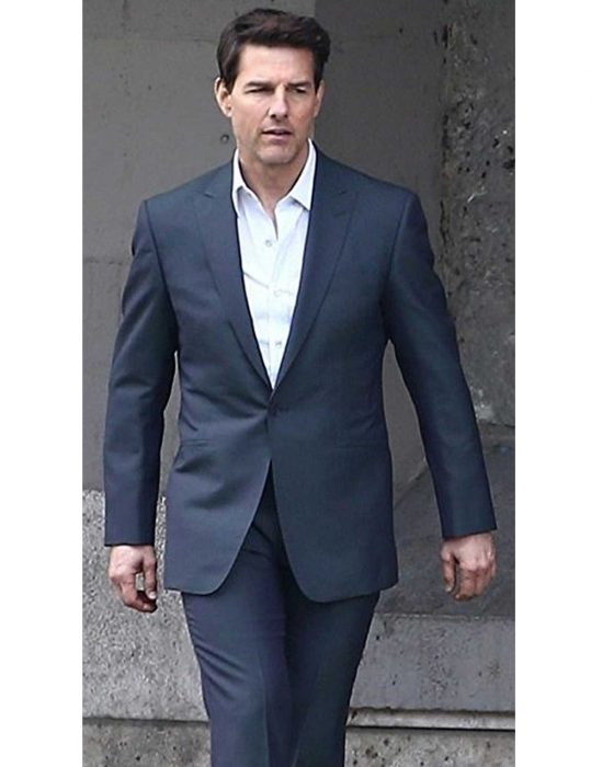 Tom Cruise Single Button Blue Suit
