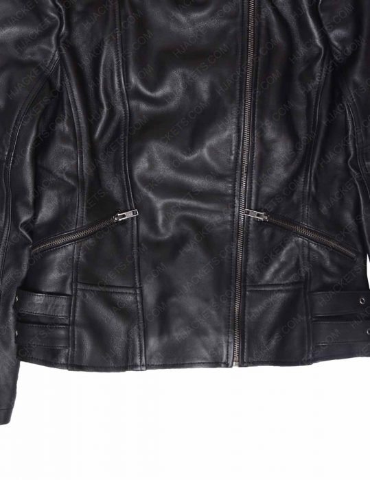 karen gillan doctor who amy pond black leather belted jacket