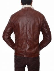 mens red waxed motorcycle leather jacket