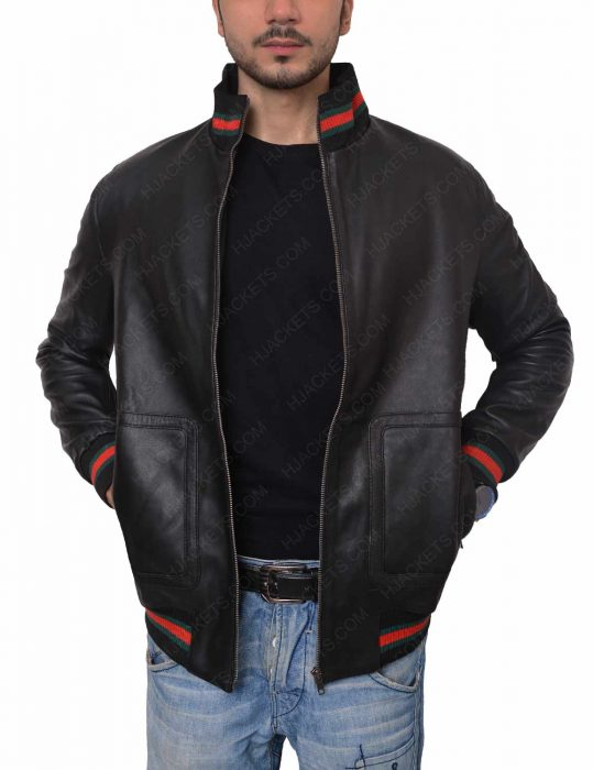 not afraid eminem black leather bomber jacket