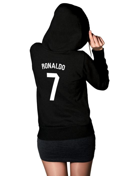 womens cristiano ronaldo 7 black hoodie
