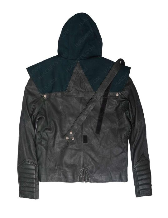 green leather hoodie