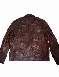 slim fit brown leather jacket