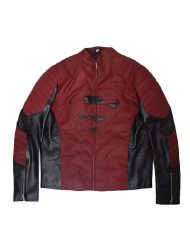 Maroon and Black Leather Jacket