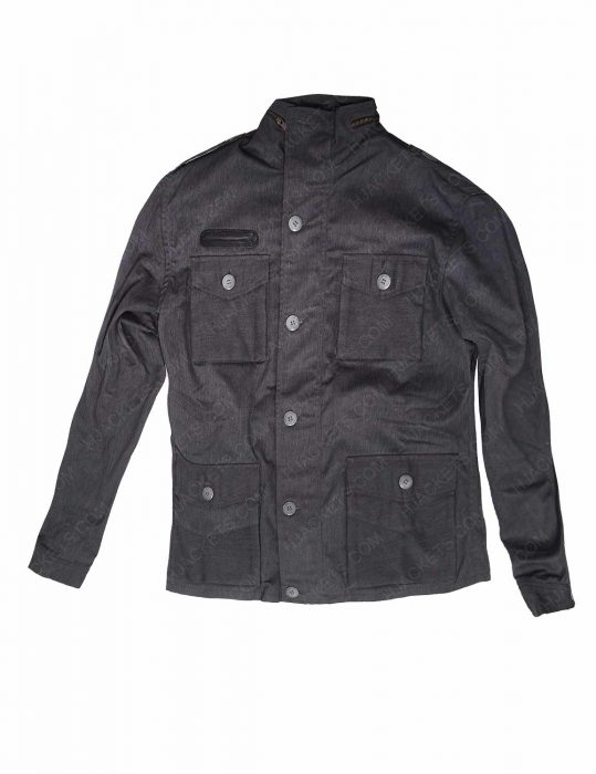 Slim Fit Grey Cotton Jacket