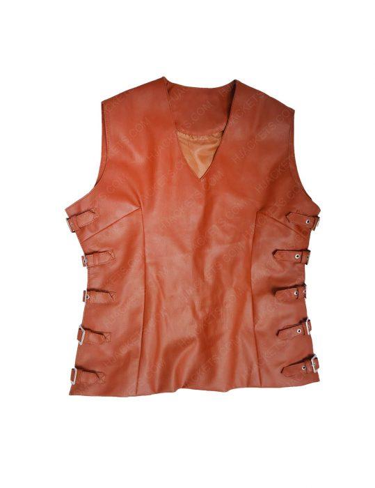 leather brown vest