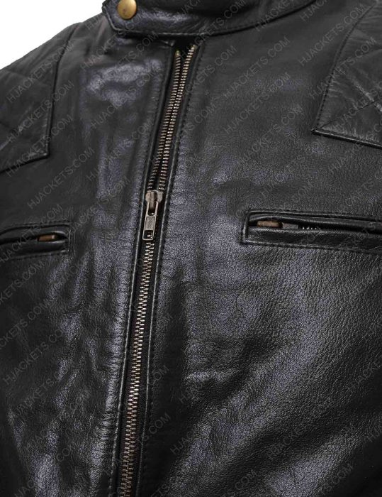 black biker quilted leather jacket