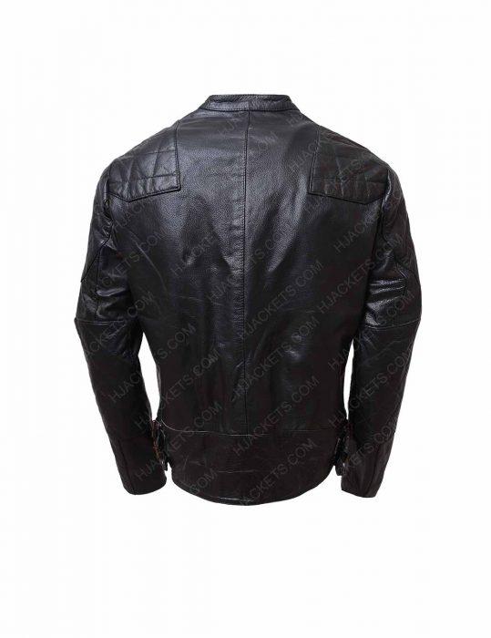 black biker shoulder padded double pocket leather jacket