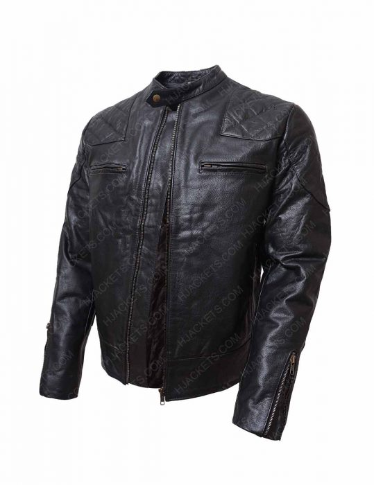 black biker shoulder padded jacket