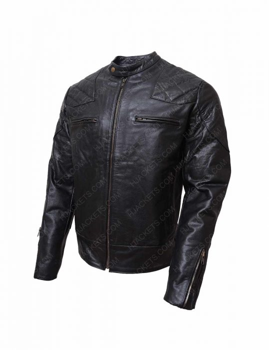 black biker shoulder padded leather jacket