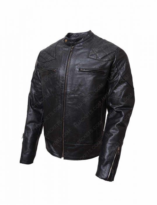 black biker shoulder padded leather jacket