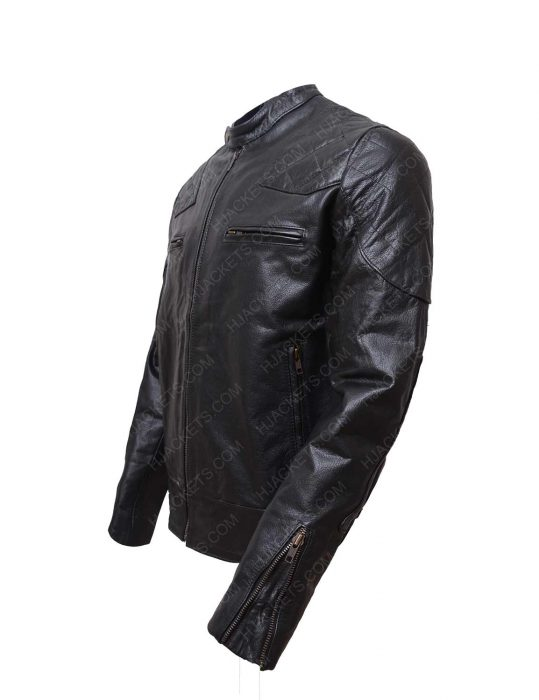 black biker shoulder padded quilted leather jacket