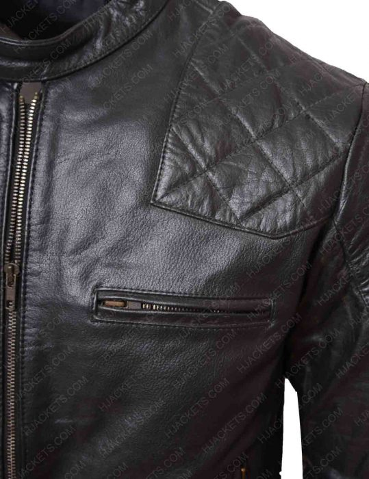 black biker shoulder quilted leather jacket
