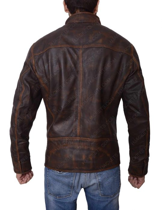 brown distressed biker jacket