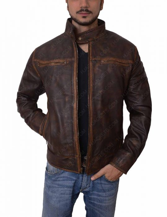 brown distressed biker leather jacket
