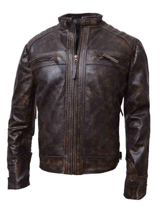 brown distressed jacket