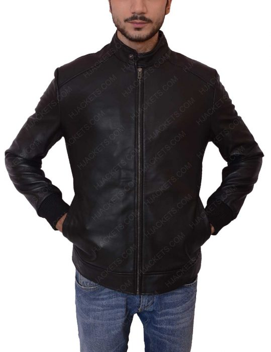 david beckham black leather bomber jacket