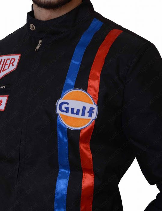 grand prix le mans gulf black leather jacket