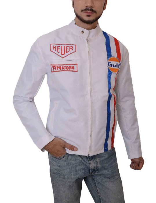 grand prix le mans white leather jacket