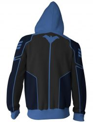 Black and Blue Pullover Hoodie for Adults