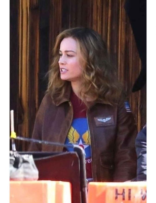 captain marvel flight bomber brown leather jacket