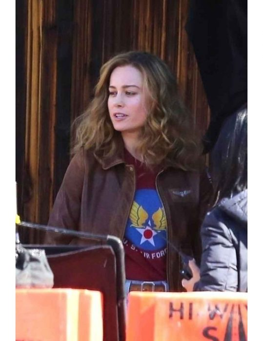 captain marvel bomber brown jacket
