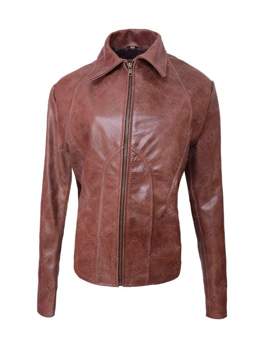 jennifer lopez brown leather jacket