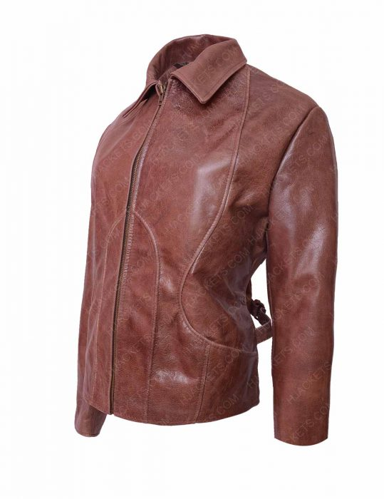 jennifer lopez distressed brown jacket