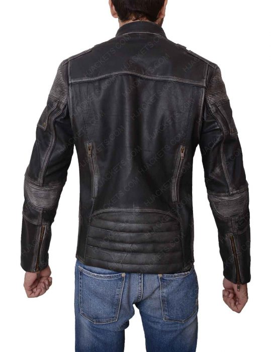 mens black distressed jacket