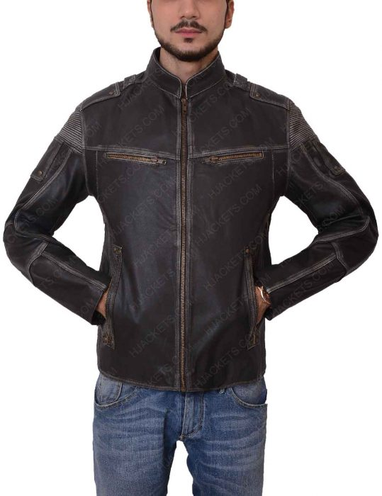 mens black distressed motorcycle zipper jacket