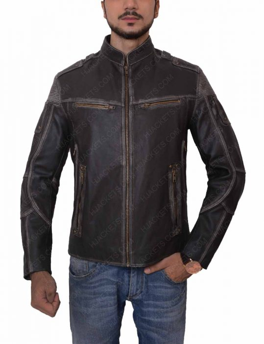 mens black distressed zipper jacket