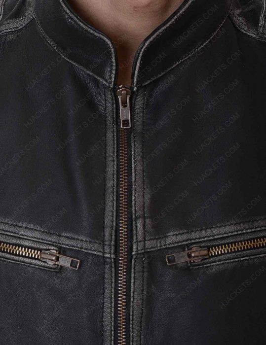 mens black leather distressed jacket