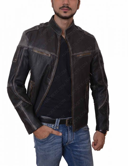 mens black leather motorcycle zipper jacket