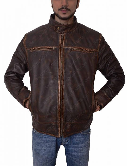 mens brown distressed biker jacket