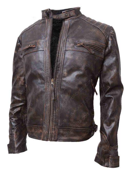 mens brown distressed leather jacket