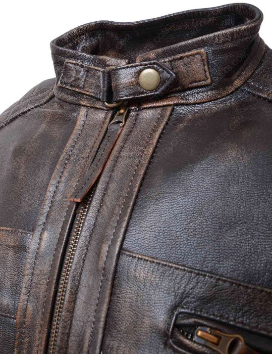mens brown distressed quilted jacket