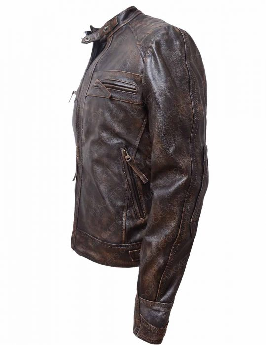 mens brown distressed quilted leather jacket