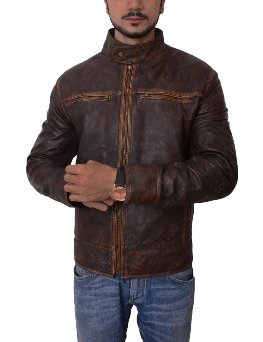 mens brown leather distressed jacket
