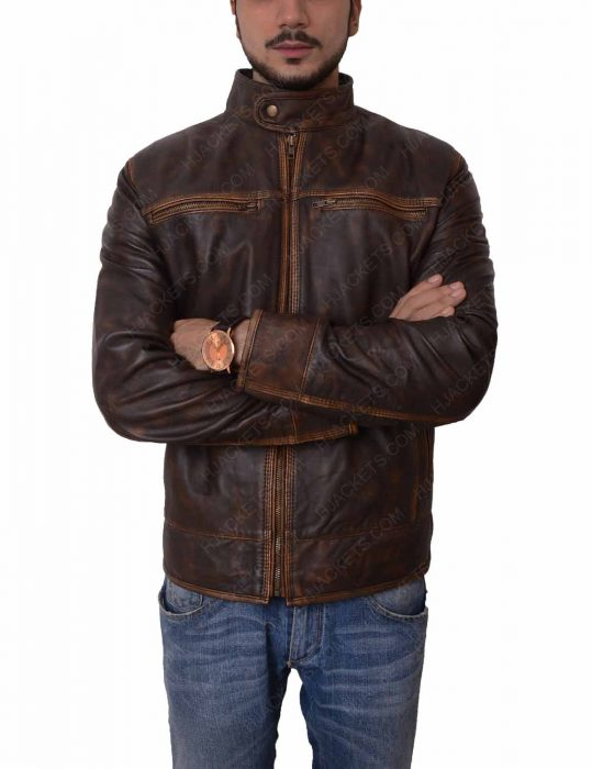 mens brown leather distressed motorcycle jacket