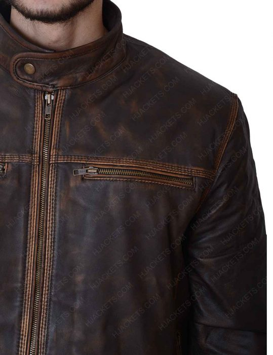 mens brown leather distressed motorcycle zipper jacket