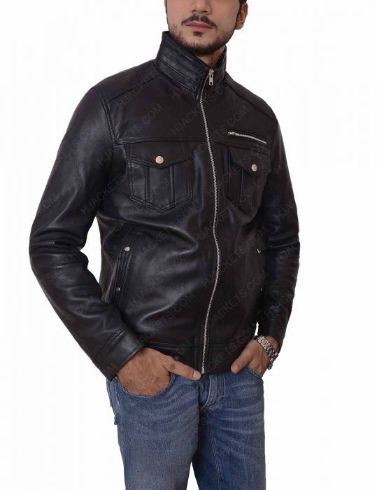 mens casual black leather jacket