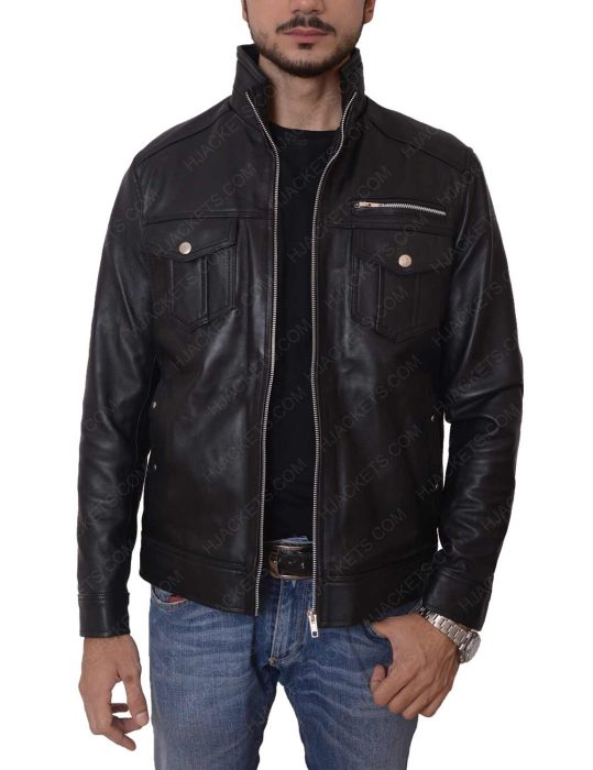 mens casual slimfit black jacket