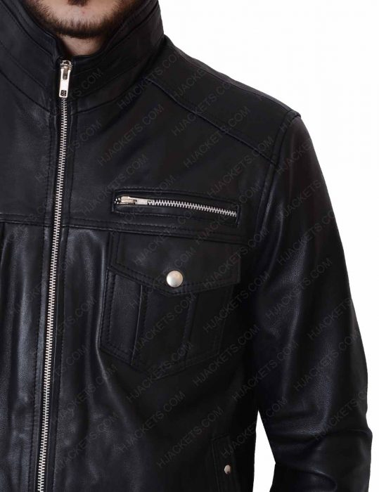 mens casual slimfit black leather jacket