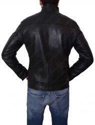 mens casual slimfit black leather pocket jacket