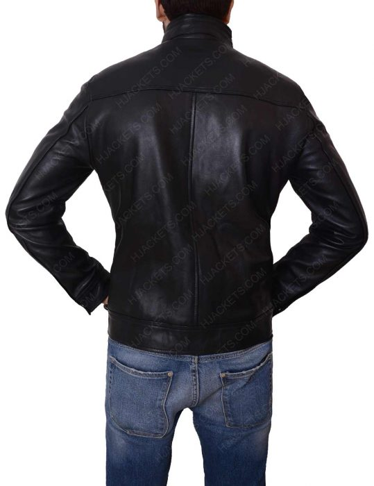 mens casual slimfit black leather pocket jacket