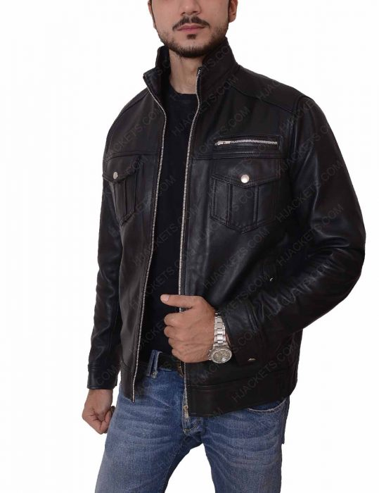 mens casual slimfit leather jacket