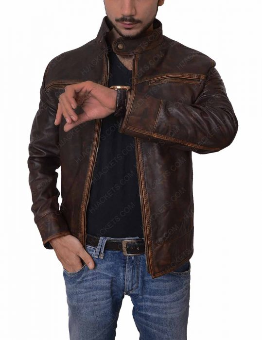 mens distressed motorcycle jacket